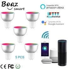 Boaz akıllı Wifi GU5.3 ışık akıllı ampul RGBW renkli Wifi akıllı spot ses uzaktan kumanda Alexa Echo Google ev IFTT
