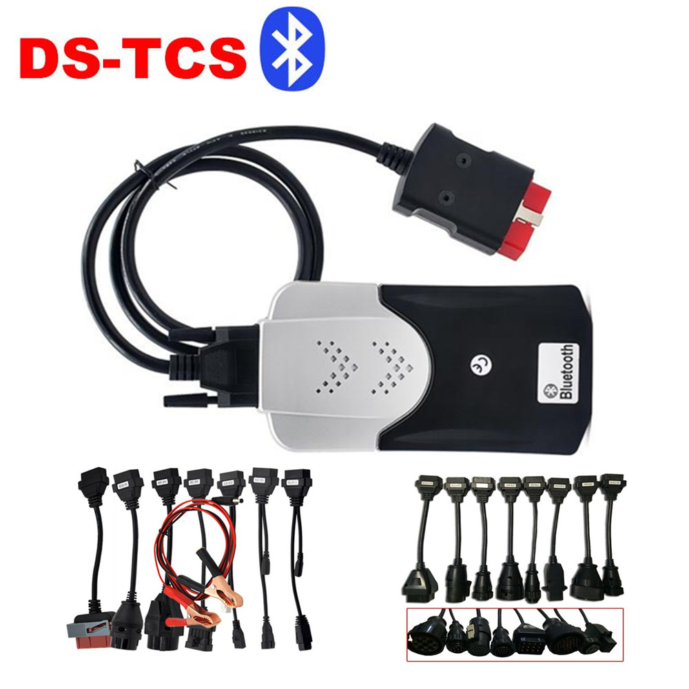 New Shape New Vci 2015.R3 TCS CDP Pro Plus +8pcs truck cable+8car cables with Bluetooth For Cars/Trucks single board pcb obd2 interface obdii diagnostics vd tcs cdp bluetooth usb cable full 8car cables for car and truck generic 3in1