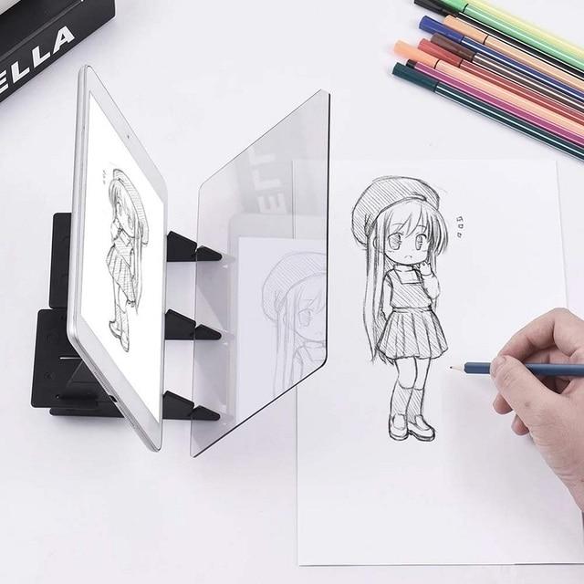 Tablette graphique avec miroir éclairé, pochoir réfléchissant, intensité variable, planche à dessin, écriture pour croquis, pour projet de téléphone