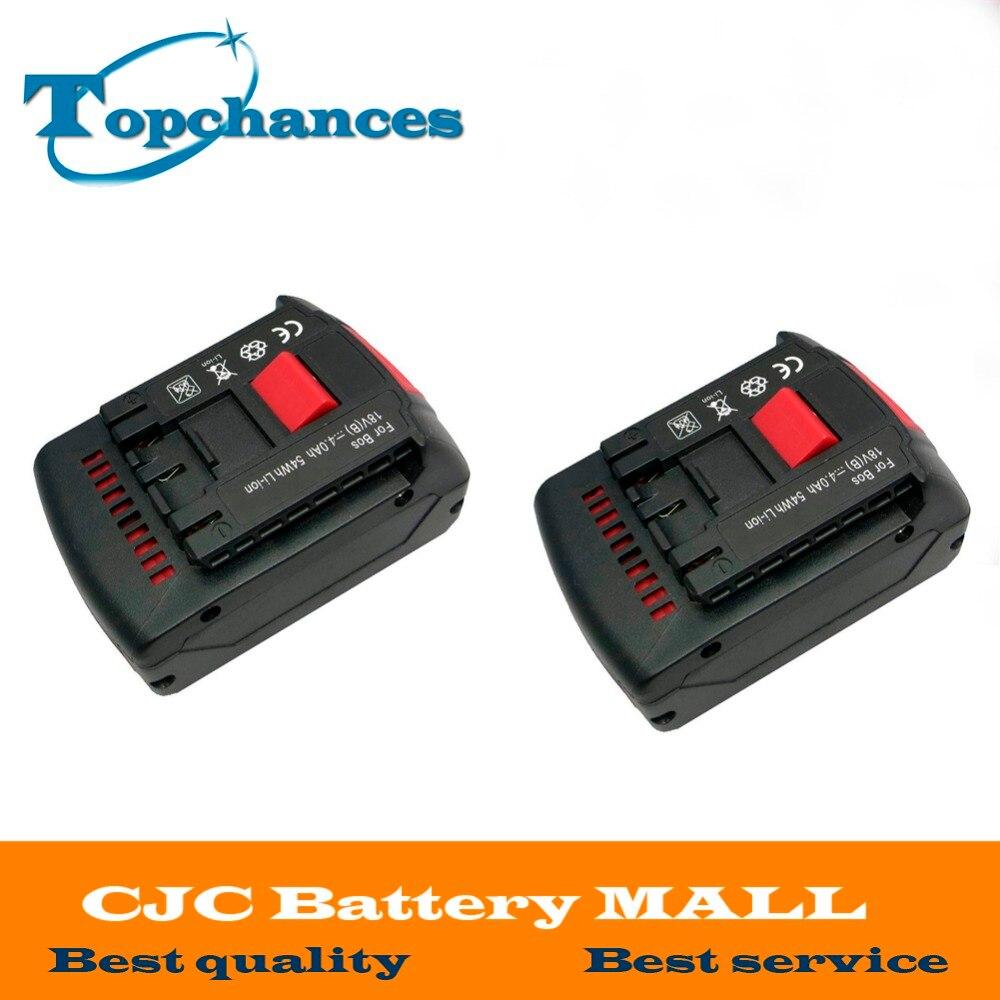 2PCS High Quality Rechargeable battery 18v 4.0 Ah Li-ion Battery for Bosch 17618 BAT609 BAT618 with led light 4 pcs replacement for bosch rechargeable battery 18v 4 0 ah li ion battery for bosch 17618 bat609 bat618 with led light