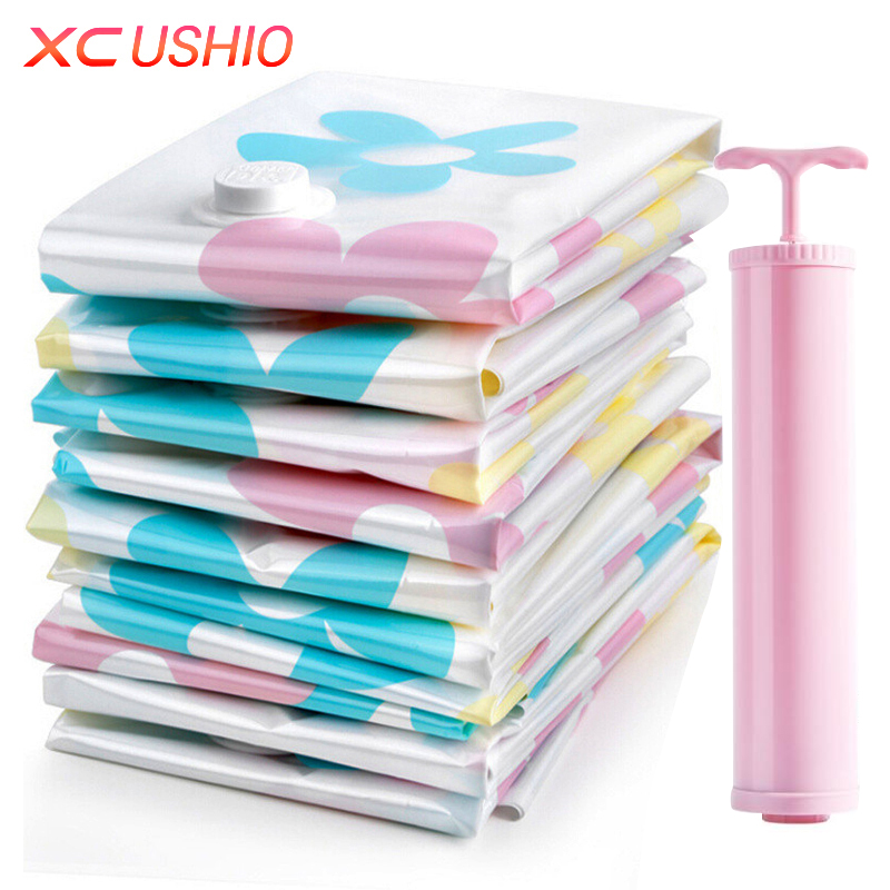 Thickened Vacuum Storage Bag Vacuum Compressed Bag with Hand Pump Reusable Blanket Clothes Quilt Storage Bag Organizer