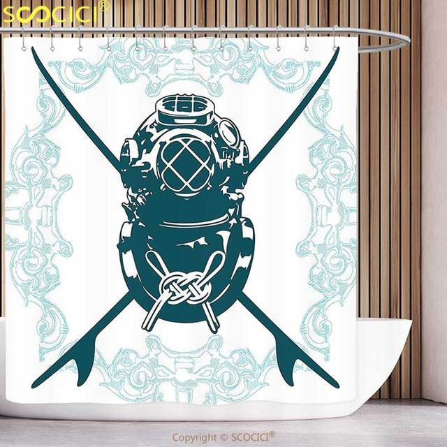 Polyester Shower Curtain Surf Decor Odd Sign With Diving Suit And Elements Myst Underwater Life Recreational Design Blue