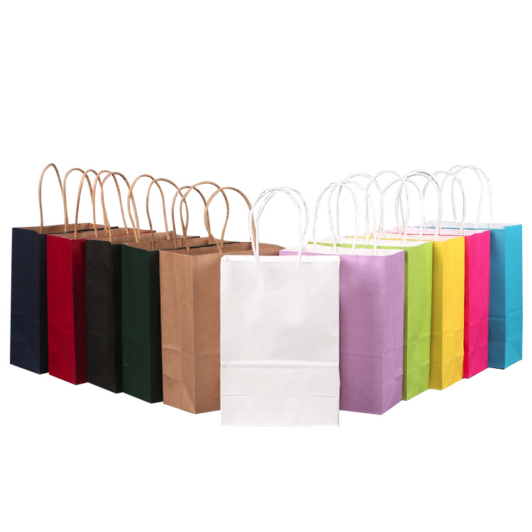 40PCS/lot Kraft Paper Gift Bag With Handle Wedding Birthday Party Gift Package Bags Christmas New Year Wholesale