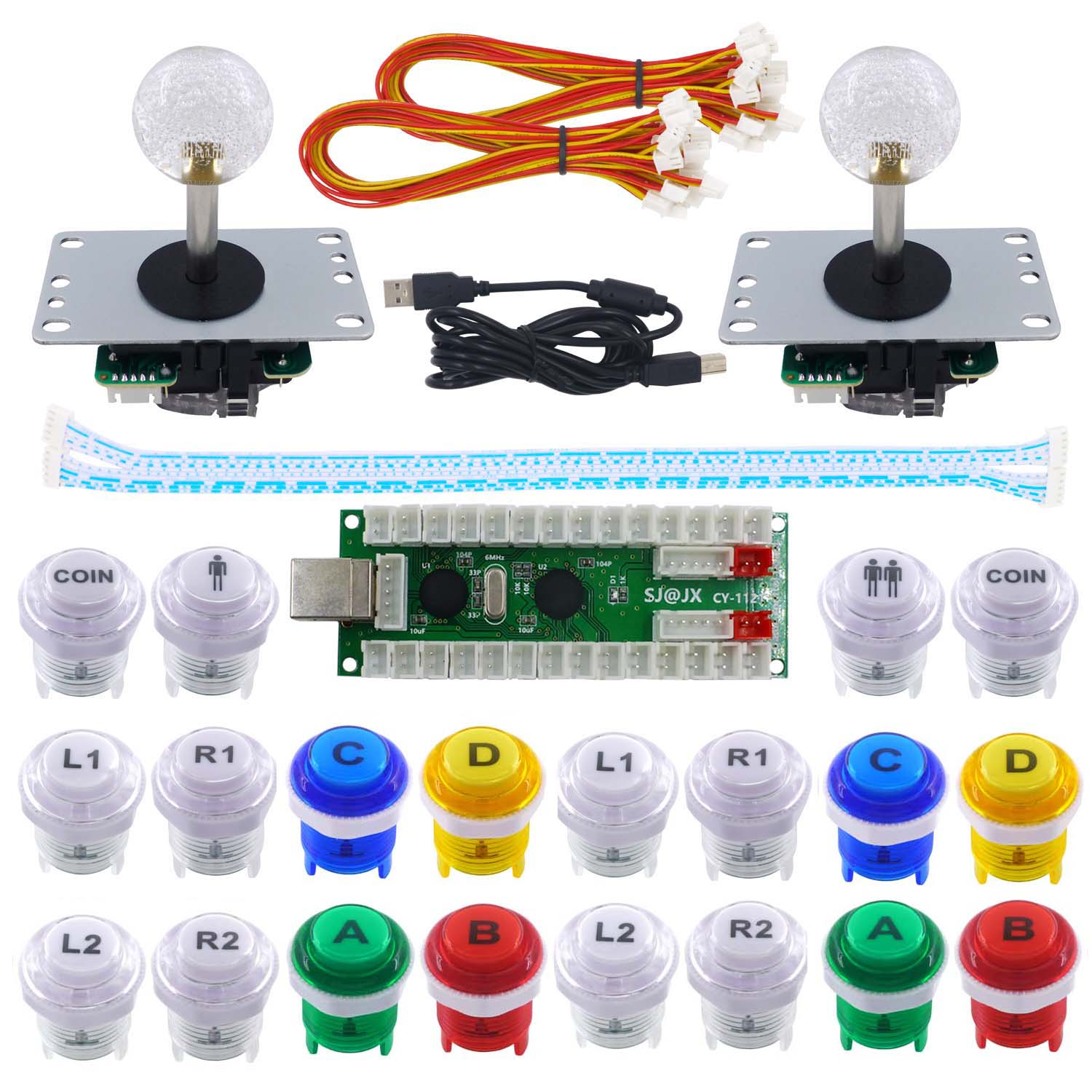 SJ@JX 2 Player Arcade Game DIY Kit Arcade Joystick Controller Mechanical Keyboard Switch Retropie Raspberry   MAME Arcade Button