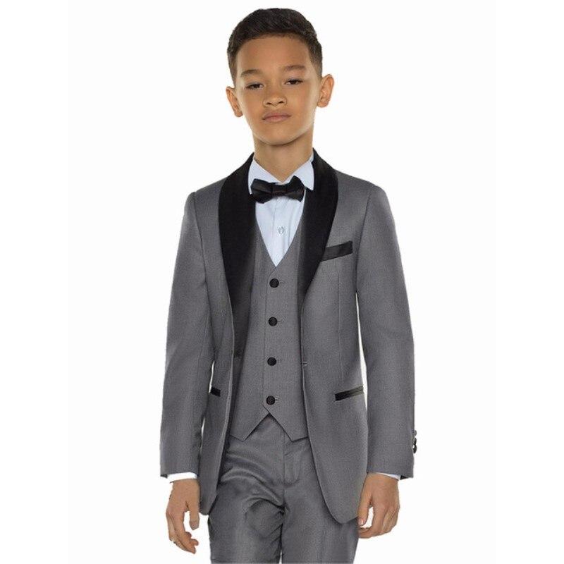 Erkek Kıyafeti'ten T. Elbise'de Beyaz/gri/mavi Çocuk Kostüm Seti Çocuk Erkek Takım Elbise Düğün için Balo Suits Çocuklar Resmi Elbise Erkek çocuk ceketi + Pantolon + yelek'da  Grup 1