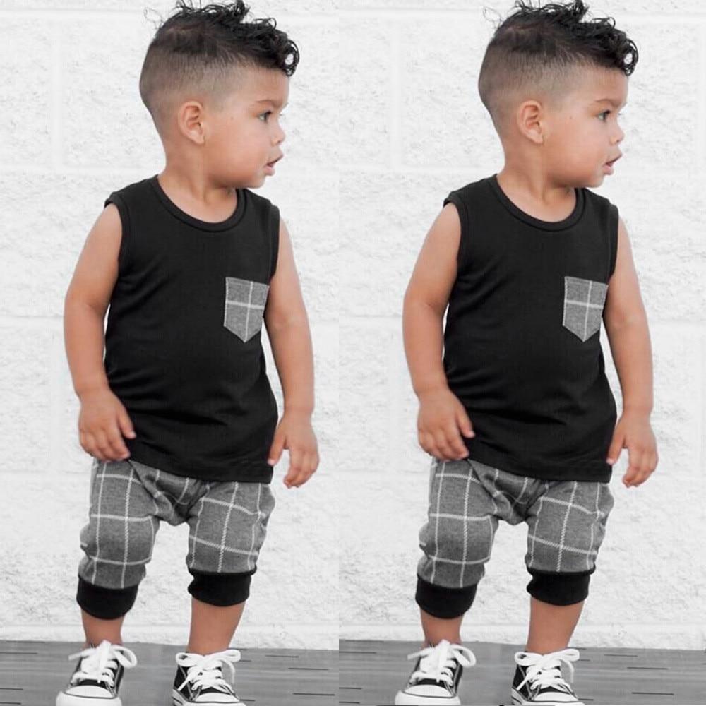 Popular Children's Clothes Set Infant Toddler Baby boys clothes Plaid Tops T Shirt Vest Shorts Outfits roupa infantil 3M-5T(China)