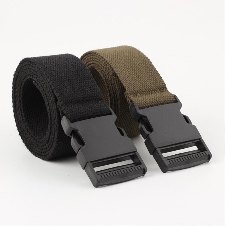New Men's Belt New Fashion Unisex Waist Belt Canvas 135cm Automatic Smoothing Buckle Belt Nylon Casual Long Belts Waistband