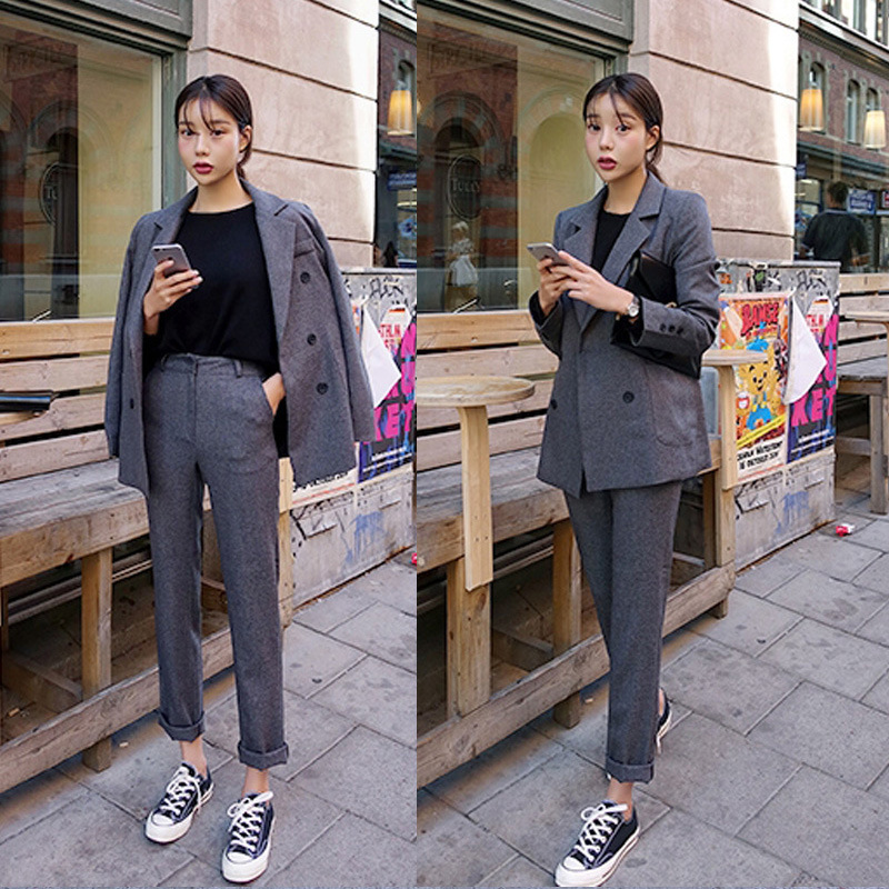 Ladies Suit Pants Suit Casual Office High Quality Suit Jacket Female Pants Suit Women Suit Suit Jacket Set 2019 Autumn New