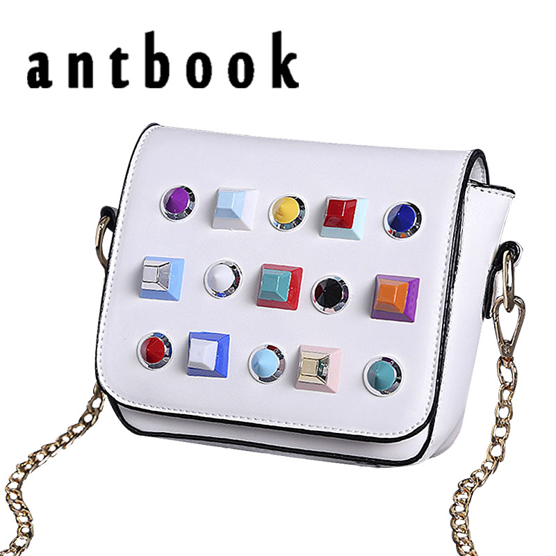 Best buy ) }}ANTBOOK New Fashion Women Messenger Bags Color Rivet Girls Chain Small Shoulder Bags