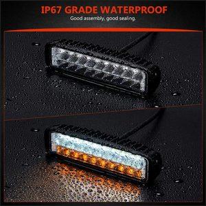 Image 4 - כפול צבע 6 18W Slim LED אור בר לבן אמבר 12V 24V פנסי קרן עבודת אור עבור UAZ 4x4 רכב Moto טרקטורונים UTV DRL offroad