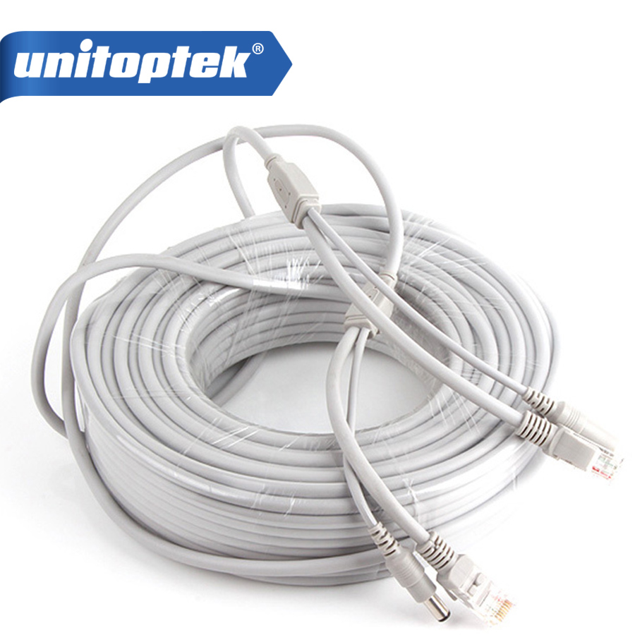 CCTV Network Lan Cable CAT5/CAT-5e 30M/100ft Ethernet Cable RJ45 + DC Power For Network Video Recorder NVR IP Cameras Gray