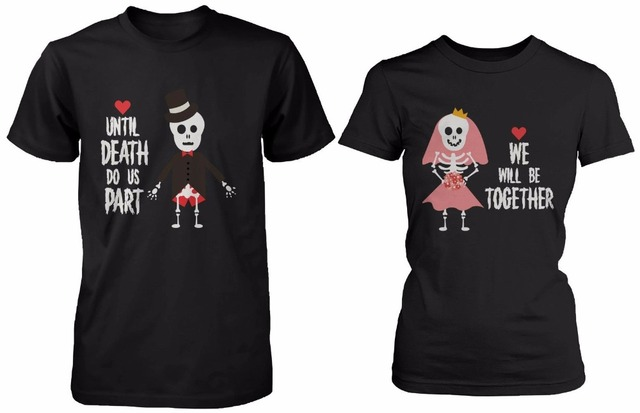 7bfb9359 His and Hers Cute Couple Shirts for Halloween Skeleton Bride Groom Tee T  Shirt Boyfriend Girlfriend T-shirt For Women Men