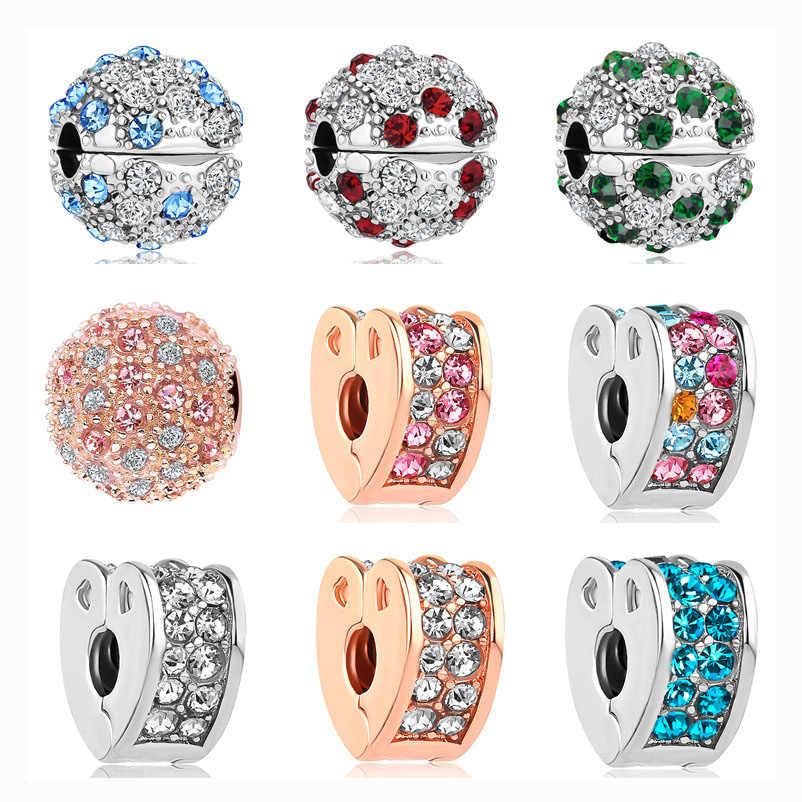 1pc silber farbe daisy herz bogen crown clip sicherheit bead fit Pandora Charms Armbänder DIY Schmuck Frauen Schmuck Zubehör w002