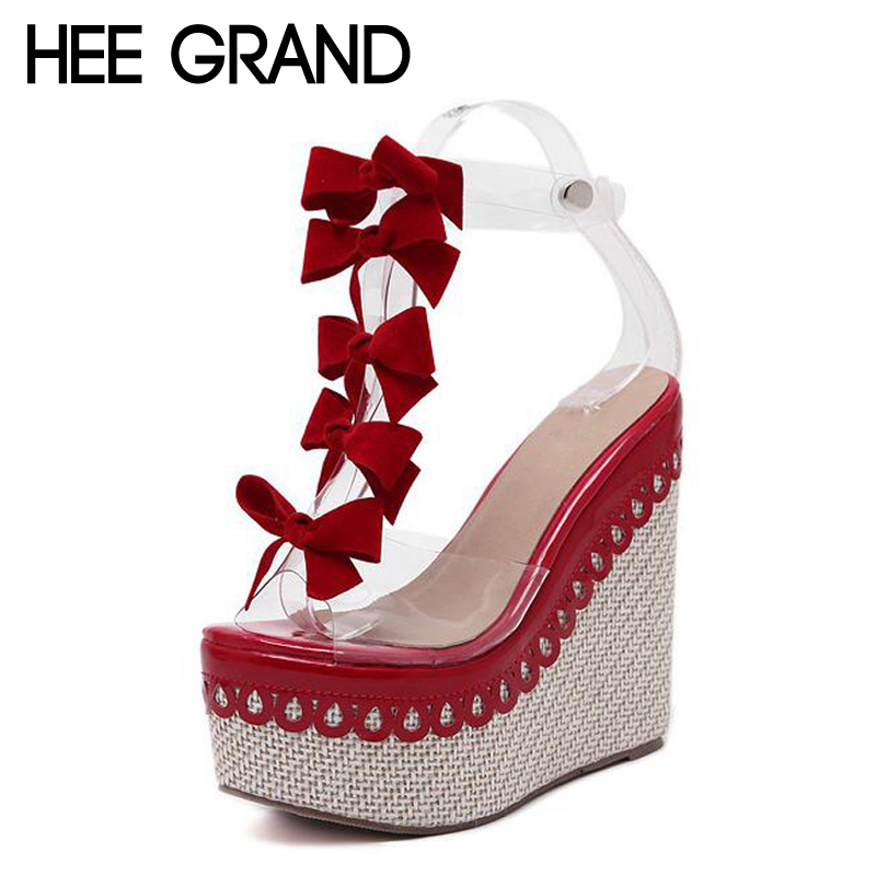 HEE GRAND Fashion Transparent Butterfly Sandals Thick Bottom Wedges Platform Women Summer Shoes XWZ3880 hee grand casual wedges sandals 2017 summer beach women shoes platform buckle comfort creepers fashion shoes woman xwz3812