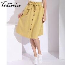 51e4cfb0fc Summer Women Line School Skirt With Button Korean Skirts Womens Pleated  High Waist Midi Knee Length Yellow Skirt Women Skirt