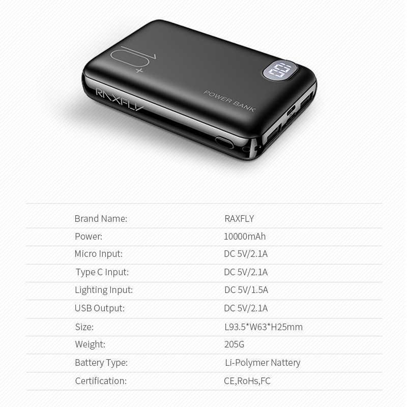 RAXFLY Mini Power Bank 10000 mAh teléfono móvil portátil cargador LED Powerbank 10000 mAh para Xiaomi batería externa móvil Poverbank