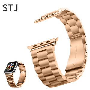 Image 3 - STJ Correa de acero inoxidable para Apple Watch, Serie de gomillas 5/4/3/38mm 2/1 42mm, correa de Metal para iwatch Series 4 40mm 44mm