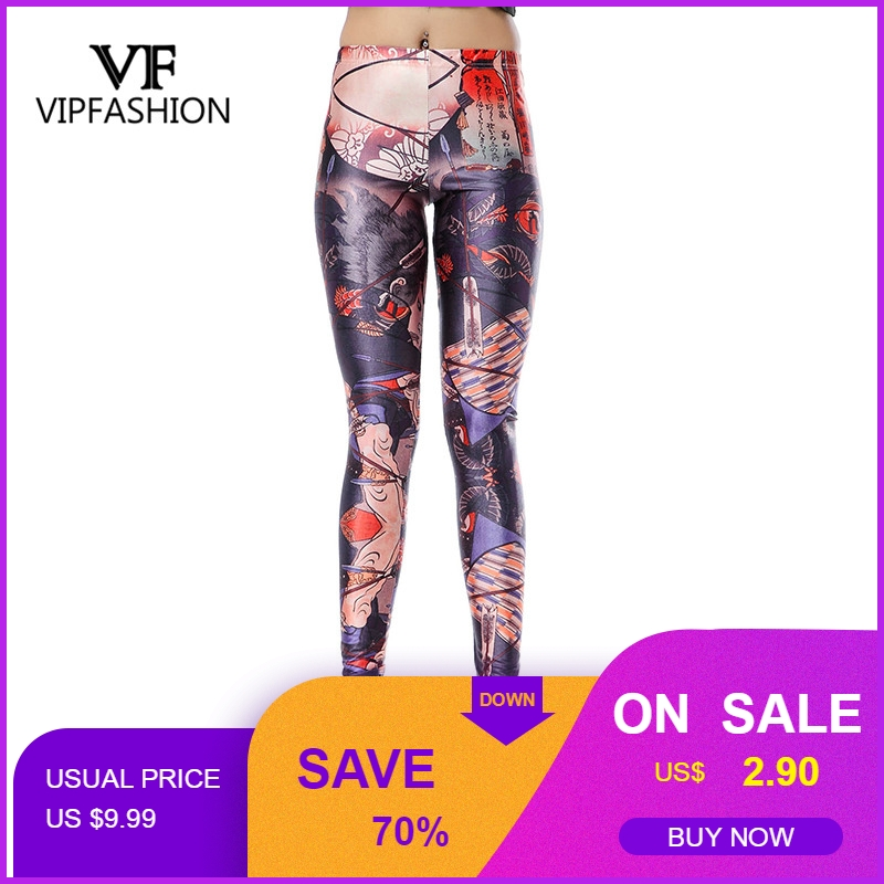VIP FASHION Leggings Womens Sexy patchwork fitness Legging Slim Black Punk Rock Elastic  Femme printed workout Pants leggings