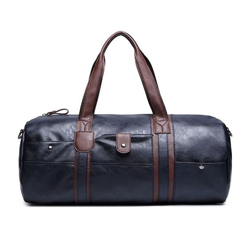 GUMSTNew Men 19inch Travel Duffle Bag PU Leather Mens Travel Bags Black Shoulder Handbag Round Bucket Shape Messenger Bag Tote