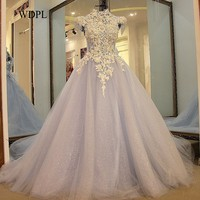 Elegant Formal Evening Gowns Dresses Appliques Up Back Sleeves Beaded Lace Long Evening Dress Tulle Light