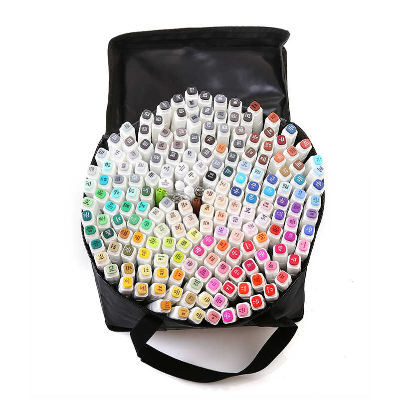 TOUCHFIVE 168 Colors Single Dual Head Art Markers Pen Sketch Alcohol Based ink Markers Manga Drawing Pens Art Supplies