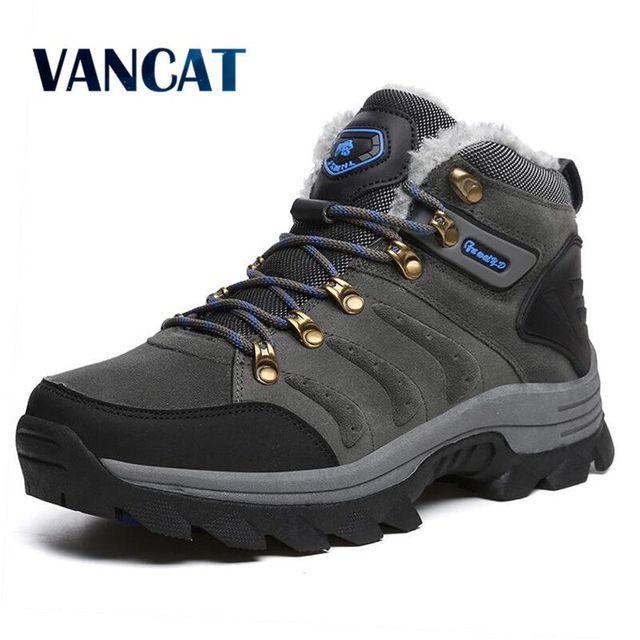 Мужские ботинки на меху со шнуровкой Vancat, высокие серые плюшевые ботильоны, теплые кроссовки для снега, большой размер, зимняя обувь, 2019