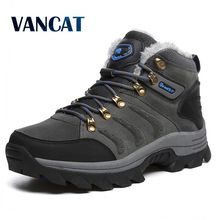 VANCAT/Большие размеры, новые мужские ботинки для мужчин, зимние ботинки, теплые меховые и плюшевые ботинки на шнуровке, модная мужская обувь, кроссовки