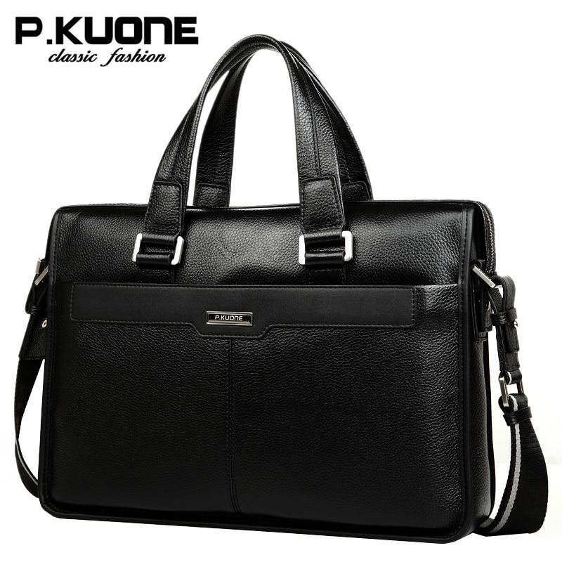 P.Kuone Luxury men brand handbags shoulder bag business casual male genuine leather bag men briefcase laptop men travel bag цена 2017