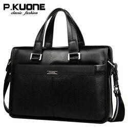 P.Kuone Luxury  men brand handbags shoulder bag business casual male genuine leather bag men briefcase laptop men travel bag