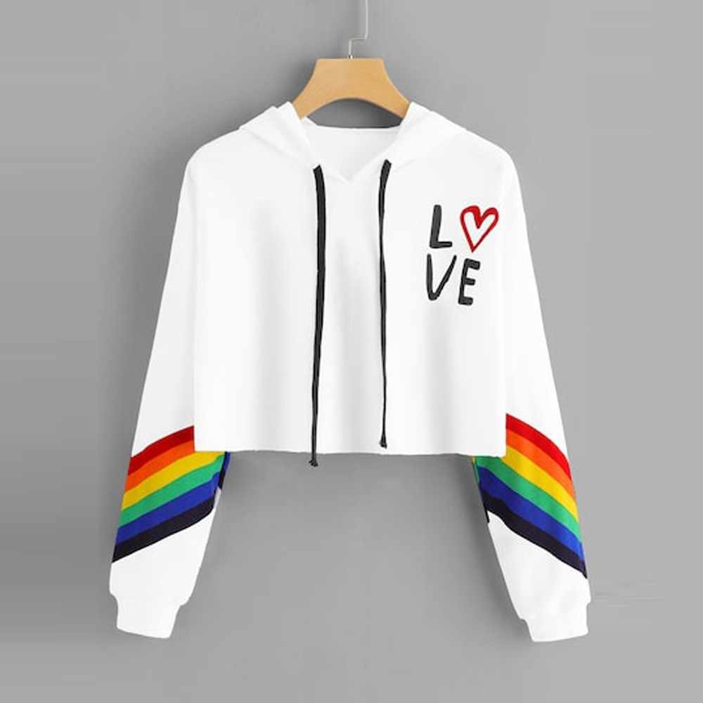 2018 Fashion Women's Hoodies Long Sleeve Hooded Pullover Letter Print Rainbow Ladies Short Sweatshirt Blouse Tops #