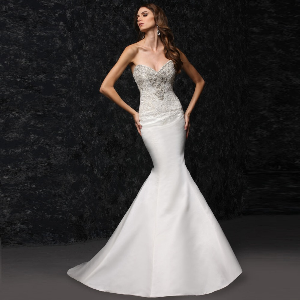 Mermaid Lace Wedding Gown: Strapless Lace Satin Mermaid Tight Wedding Dress-in
