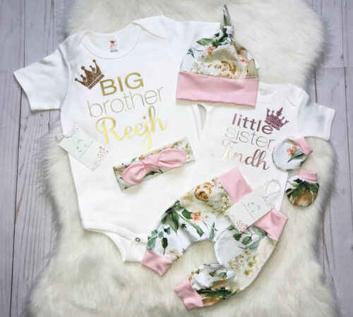 Baby Sister Match Clothes Newborn Kid Baby Big Brother Jumpsuit Little Sister Romper+Legging Pant Clothes Outfits