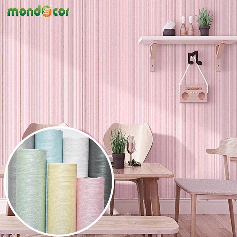 Waterproof PVC Self adhesive Wallpaper For Living Room TV Backdrop Solid Striped Wallpaper Sticker Bedroom Wall Paper Home Decor self adhesive waterproof pvc wallpapers roll morden wall paper bedroom living room furniture renovation sticker home decor