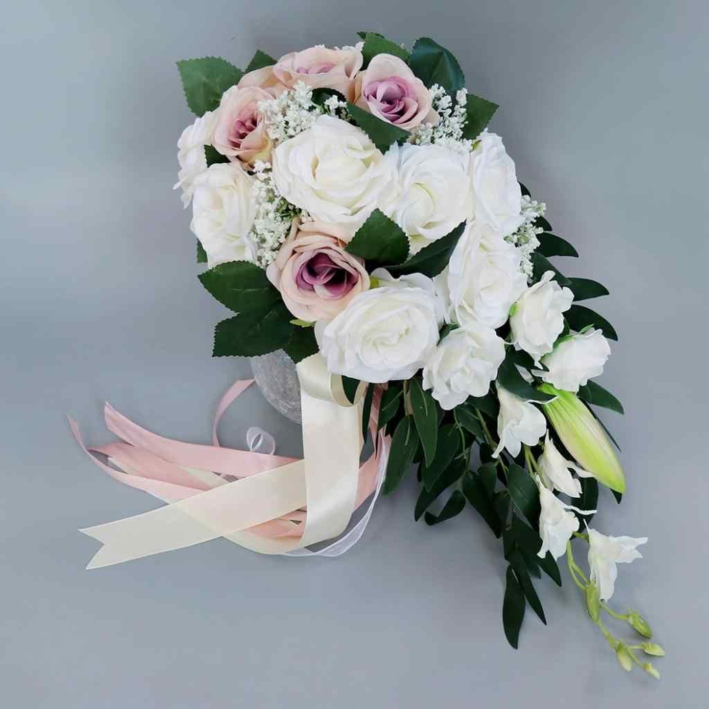Realistis Pernikahan Bride Bouquet Tangan Terikat Bunga Dekorasi Pesta Persediaan Eropa Chaise Longue Mawar Bunga Pernikahan