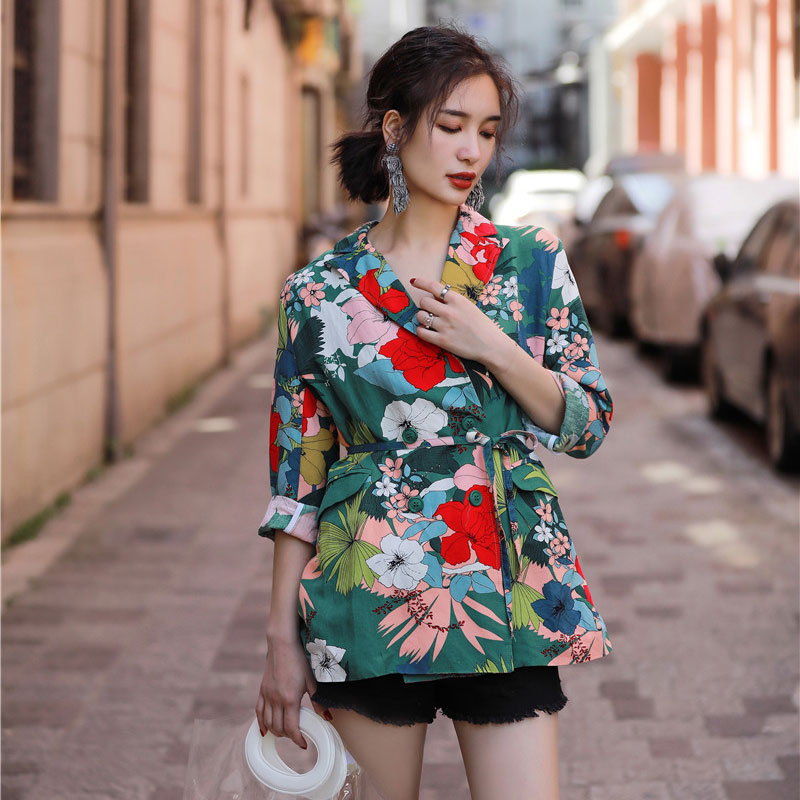 Bella Philosophy 2018 summer floral printed women blazer long sleeves colorful casual ladies suit