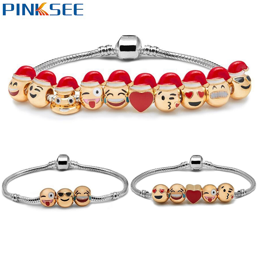 3 5 10 Beads Emoji Santa Charm Bracelets For Women Diy Silver Plated Smiley  Emoticon Beads Friendship Bracelets Xmas Gifts
