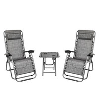 2PCS Zero Gravity Lounge Chair Grey with Portable Cup Holder Table Outdoor Furniture Folding Picnic Camping Set
