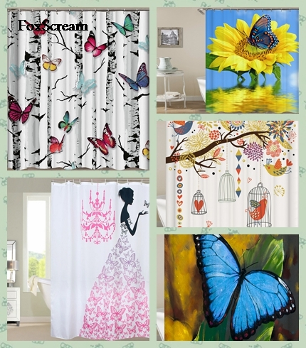 Pink Flower Fairy Girl with butterfly shower curtain Bathroom Curtain White Background Waterproof Fabric Shower Curtains