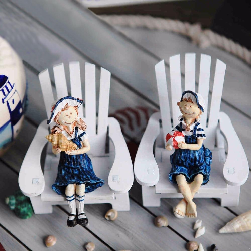New!Resin doll 2PCS/SET Mediterranean Style Mini Beach Chair lovers doll 2PCS/LOT house Wooden Crafts <font><b>Nautical</b></font> <font><b>Home</b></font> <font><b>decor</b></font>