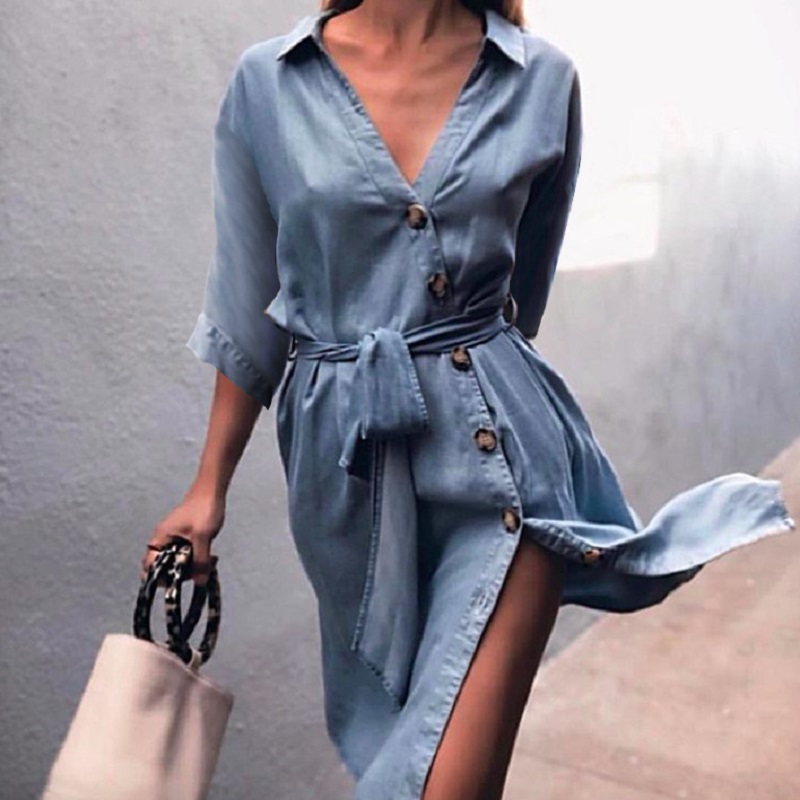Women Autumn Button Denim Blue Button Casual Dress Women 2018 Fall Fashion Loose Half Sleeve V Neck Midi Dresses with Sashes