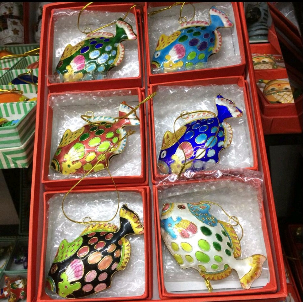 Wholesale 250pcs Chinese Handmade Classic Cloisonne Enamel Fish Ornament for christmas free shipping