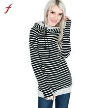 Women Hoodies Stripe Long Sleeve Jumper Clothes Hooded Pullover Female Sweatshirt Tops Autumn And Winter hoodies sweatshirt 2017