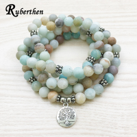 Ruberthen Trendy Design Women S 108 Mala Bracelet Matte Amazonite Necklace Yoga Tree Of Life Jewelry