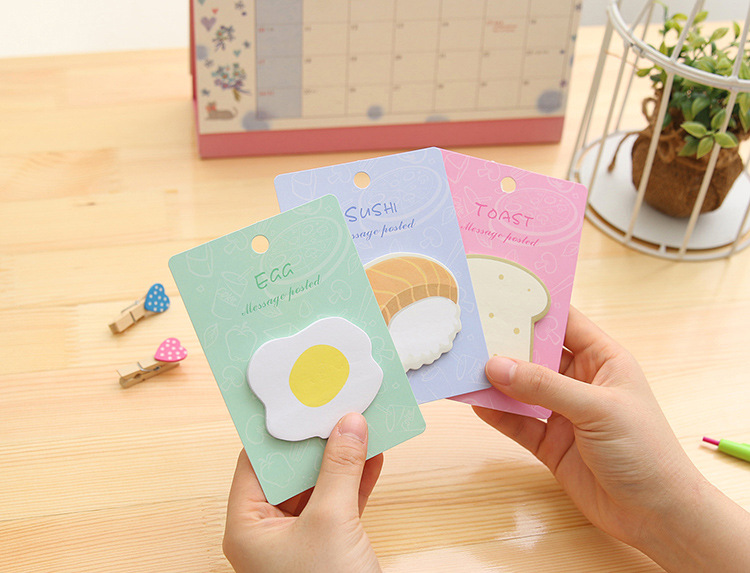 Kawaii Breakfast sticky notes egg sushi toast Memo Pad Paper Sticker Post It Label Notepad Gift Stationery Escolar Papelaria