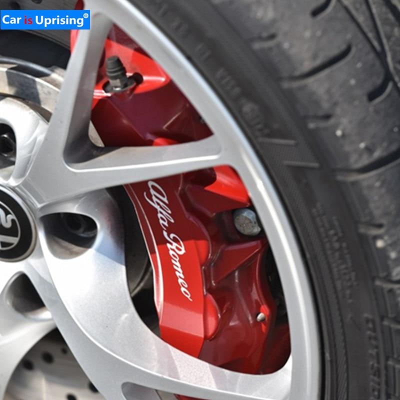4 шт. для Alfa Romeo Литые виниловые наклейки для тормозного суппорта наклейки для автомобиля логотип эмблема значок наклейки для giulietta Mito 147 156 159 166-in Наклейки на автомобиль from Автомобили и мотоциклы