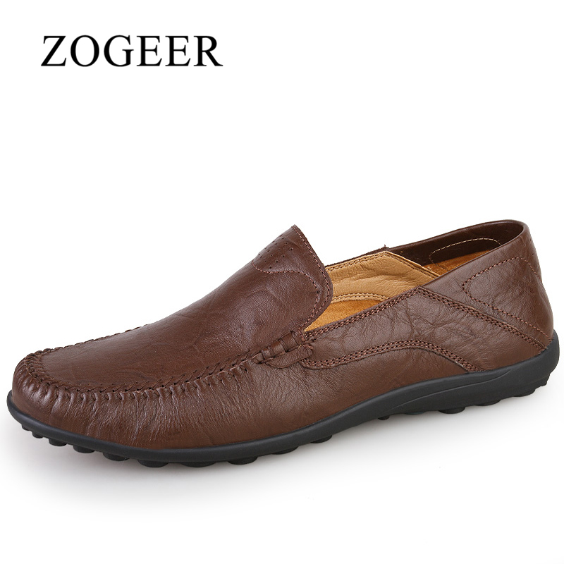 ZOGEER Big Size 37-47 Äkta Läder Män Loafers, Spring Andas Slip On Men Moccasins, 2018 Nya Casual Man Shoes