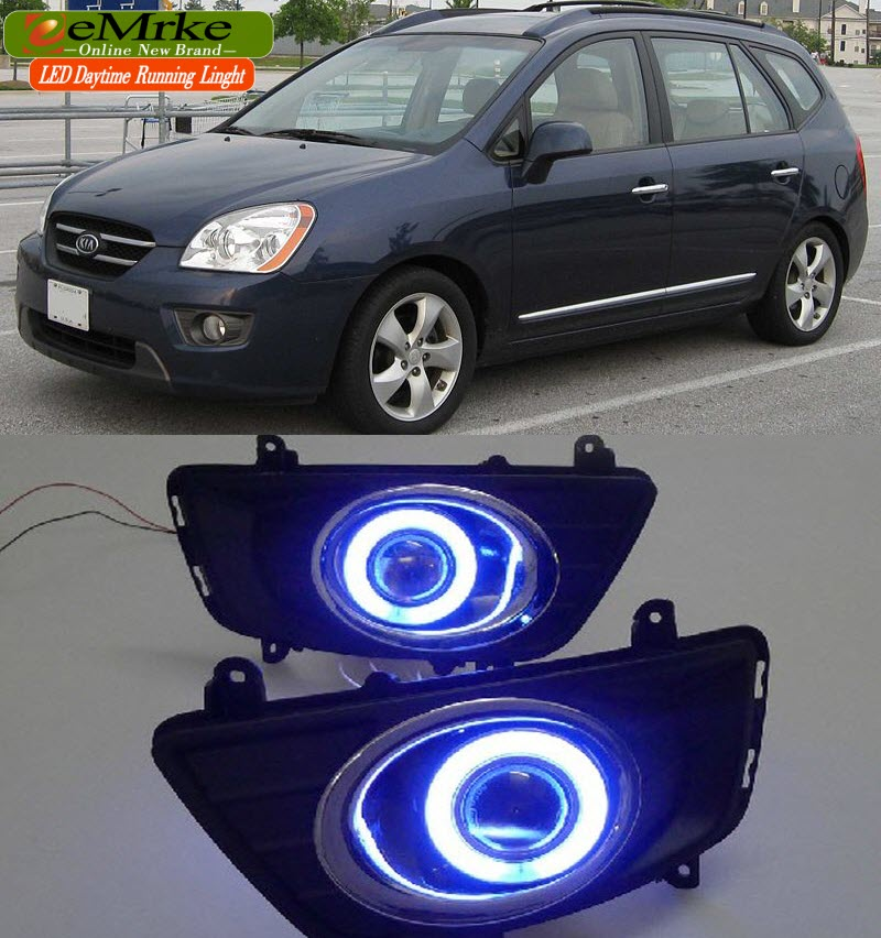 LED Daytime Running Lights DRL Projector Lens H11 55W Fog Lights COB Angel Eyes Kit For Kia Carens Rondo 2TH Gen UN 2006-2013