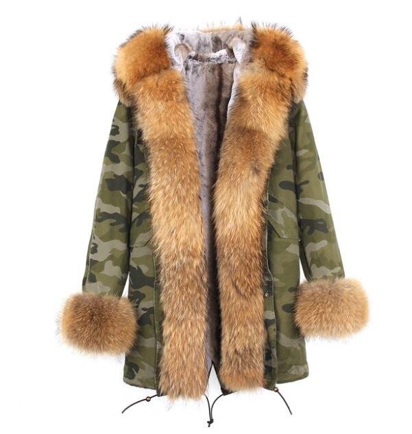 Американский стиль Горячая Распродажа Женская мода Большой настоящий Енот с капюшоном и джинсы с отворотами плюс размер толстые длинные пальто куртки верхняя одежда бренд - Цвет: C9