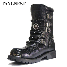 Tangnest Men's Genuine Leather Boots Man Military Motorcycle Boots Mid-Calf Martin Boot Male Winter Warm Shoes With Fur XMX422