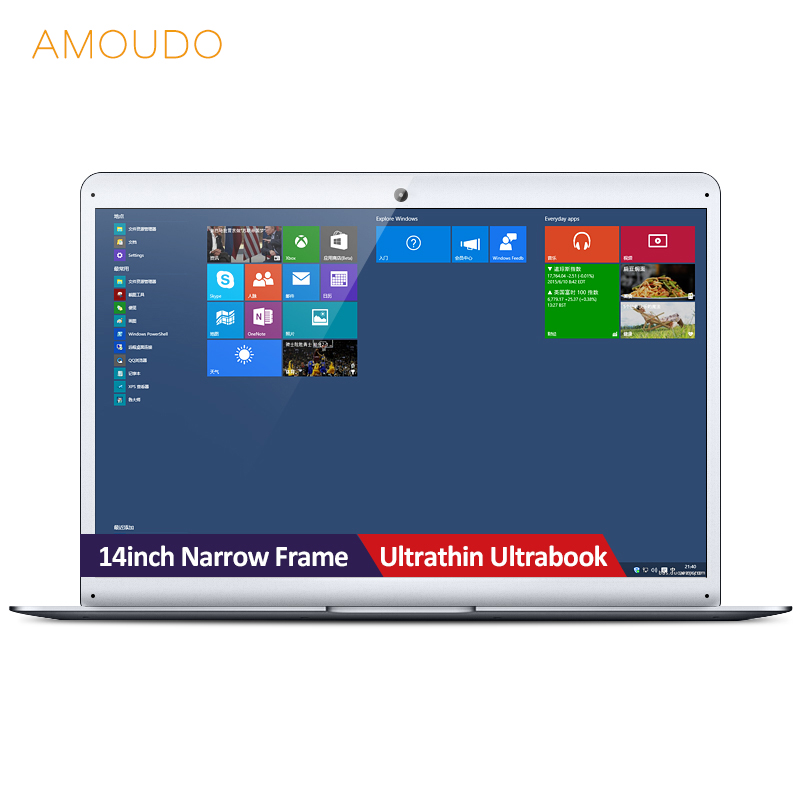 AMOUDO 14inch Narrow Frame Ultrathin Windows 10 System Intel Cherry Trail Atom Z8350 Quad Core Laptop Notebook Computer